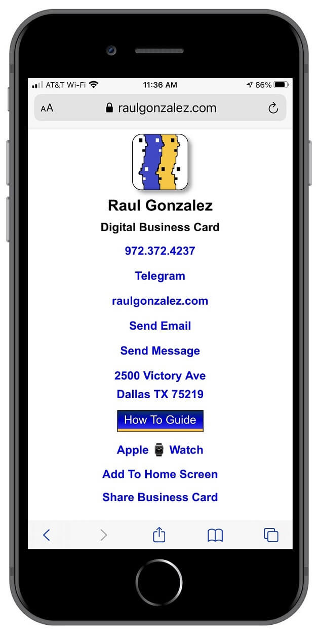 My Digital Business Card being displayed on an iPhone