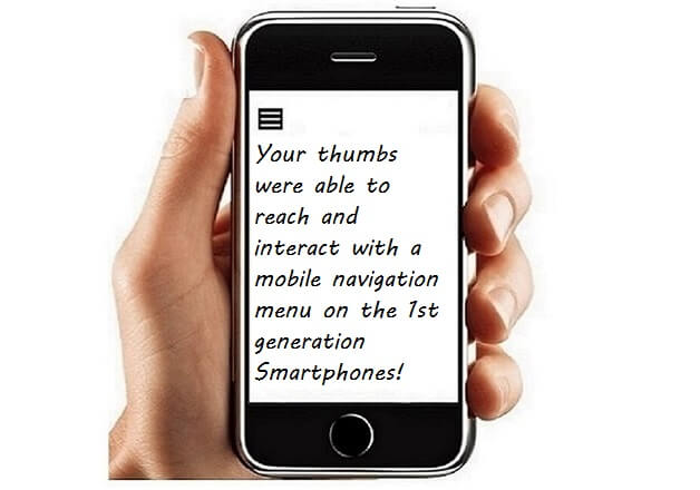 Thumb Zone Area of 1st Smartphone